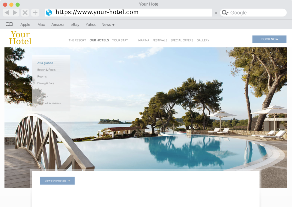 Demo Hotel website screenshot built with the Bedvine site builder